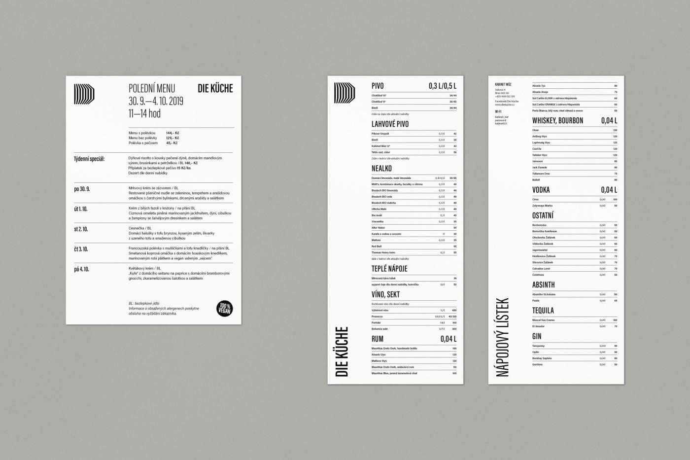 Kabinet múz – Die Küche – denní menu a nápojový lístek